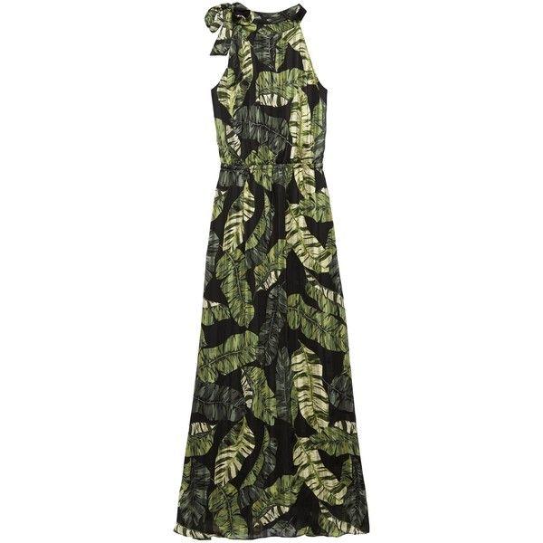 Palm Print Tie-Neck Maxi Dress ($158) ❤ liked on Polyvore featuring dresses, palm tree print dress, palm tree dress, palm print dress, neck tie dress and palm leaf dress