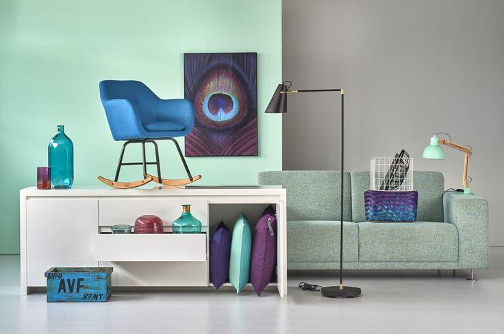 Woonexpress | Kleurtrend frisse accenten | opbergkist HORSTEN | flessen & vazen | inlijsting PAUWENVEER | accessoires
