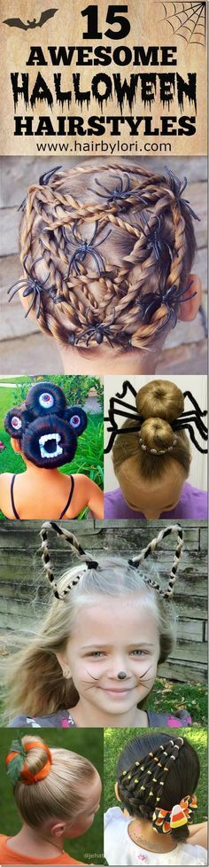 15 Awesome Halloween Hairstyles - such great, fun hairstyle ideas in this post! I have to try these cute hairstyles on my girls!