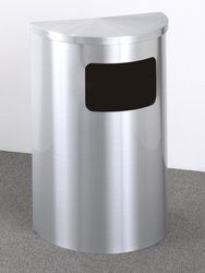 12 gallon half round side opening trash can with hinged lid
