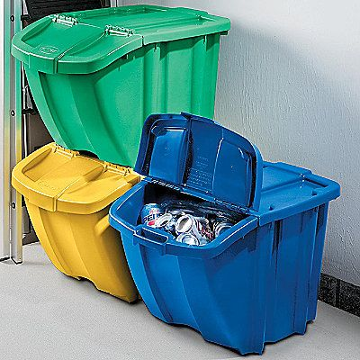 Stackable Recycling Bins Set Of 3 Recycling Set Of And