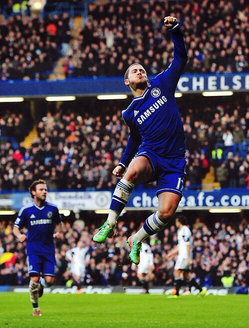 Hazard after his goal that lead the Blues to a 1-0 victory over Swansea