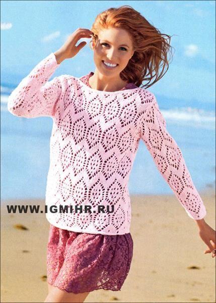 Кружева на свитере спицами
