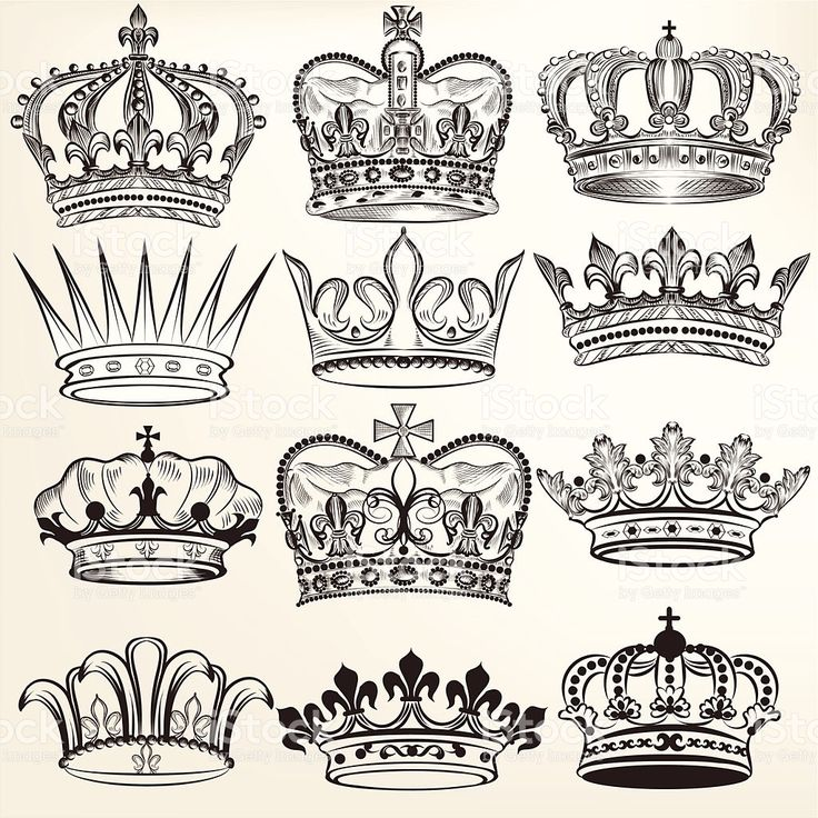 Collection of vector royal crowns for heraldic design royalty-free stock vector art