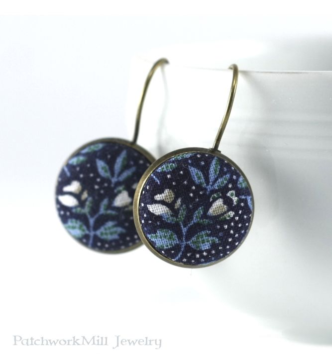 Antique Leverback Earrings - Dark Blue Flowers - Remind Me William Morris - Turquoise and White - Romantic Fabric Covered Buttons Earrings, Jewelry by PatchworkMillJewelry