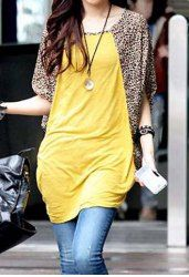 $8.89 Leopard Print Casual Scoop Neck Batwing Sleeve T-Shirt For Women