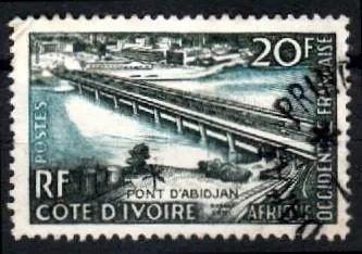africa oc francesa 1958 * costa .do marfim * ponte abidjan