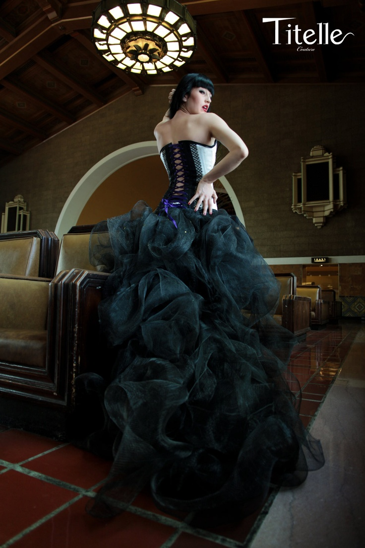 TITELLE wedding dress with corset / silver - black - peacock / handmade to order. $1,690.00, via Etsy.