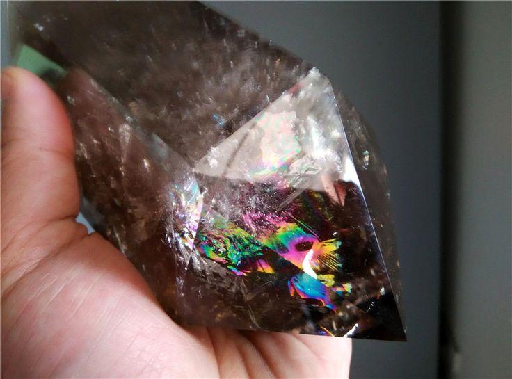 1351g Rainbow Natural Smoky Quartz Crystal Point Healing m155