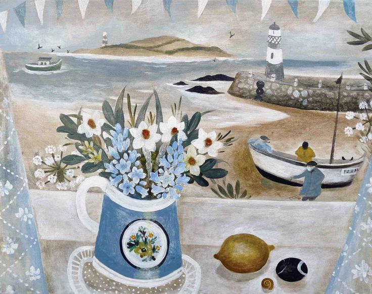 """Mending the Nets"" by artist Sarah Bowman- Devon- ""She paints intuitively, her landscapes are derived from memory, they are an amalgamation of places she has visited, Cornwall, Devon, the Scilly Isles, Andalucia. She thrives on exploring new locations to paint, searching for still-life and natural objects to depict."""