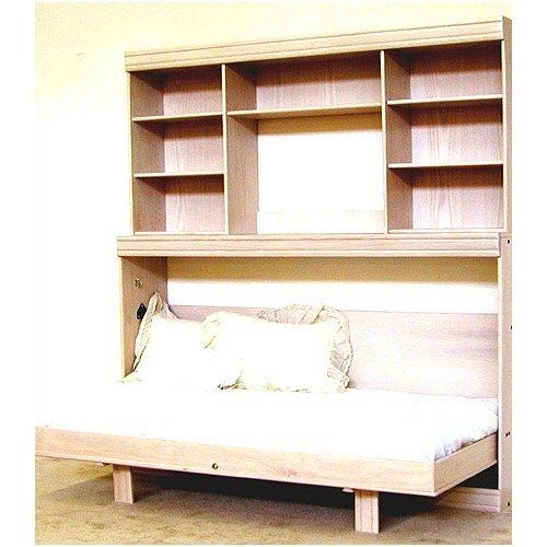 Wallbeds Contemporary Horizontal Wallbed Series Contemporary Oak Horizontal Twin Murphy Bed with Hutch