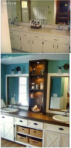Bath redo on a budget. I love the peacock blue color with the cream cabinets and dark counter top