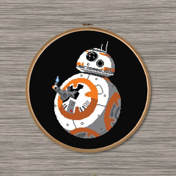 Instant download (2 Page) PDF cross stitch pattern of BB8 giving the Thumbs Up - from Star Wars: The Force Awakens Pattern includes colored grid and DMC color chart. Size: Approximately 10 x 14 (14 count Aida fabric) 101 stitches wide, 143 stitches tall 9 colors Stitch pattern on BLACK Aida fabric
