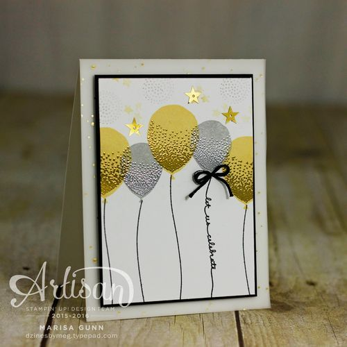 Happy New Year card featuring the Balloon Celebration stamp set from Stampin' Up!, by Marisa Gunn