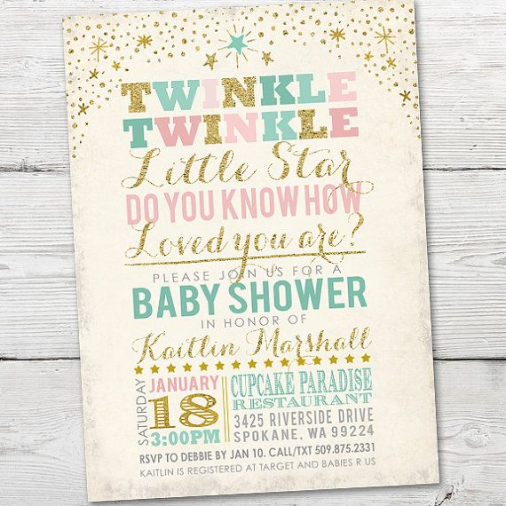Elegant Twinkle Twinkle Little Star Baby Shower Invitation By Partymonkey More