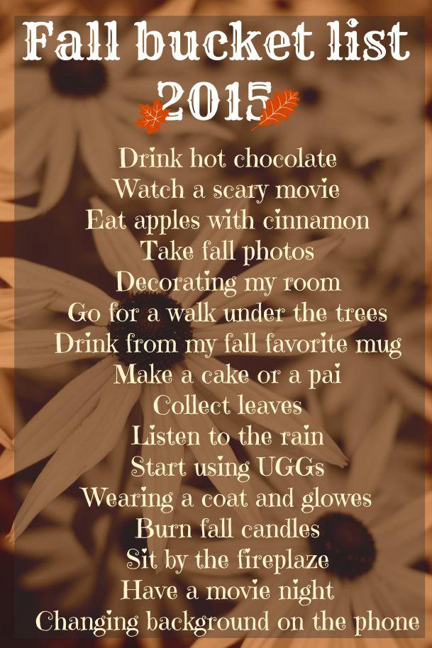 My fall bucket list, I just love fall.