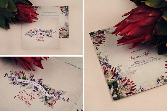 Chrystalace Wedding Stationery Protea and Fynbos Lasercut invitation7