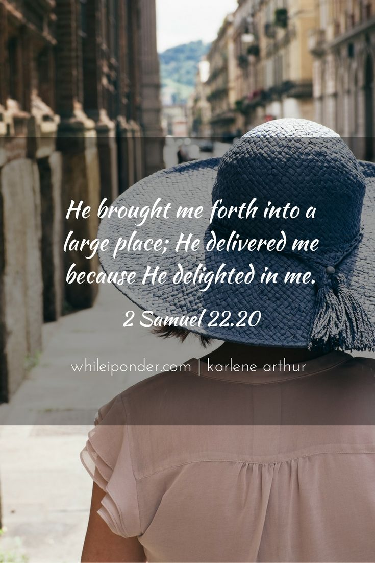 He brought me forth into a large place; He delivered me because He delighted in me. 2 Samuel 22.20 #whileiponder #Bible #delight