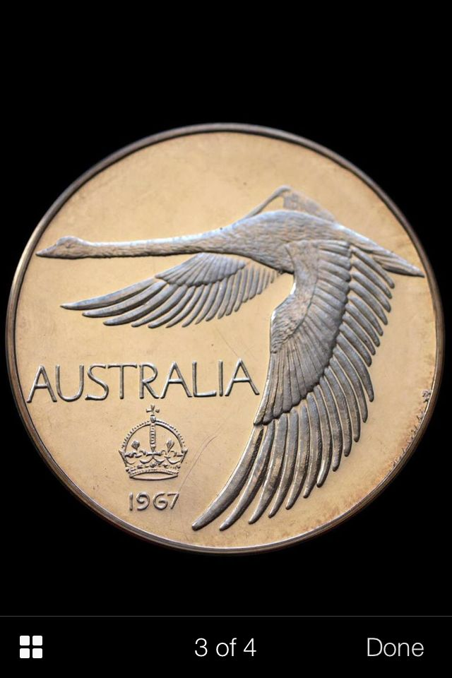 Unofficial Australian Pattern 'Crown' Proof Dollar, commissioned by the Australian Coin Review. Designed by Andor Mészáros and minted by Pinches of London in 1967.