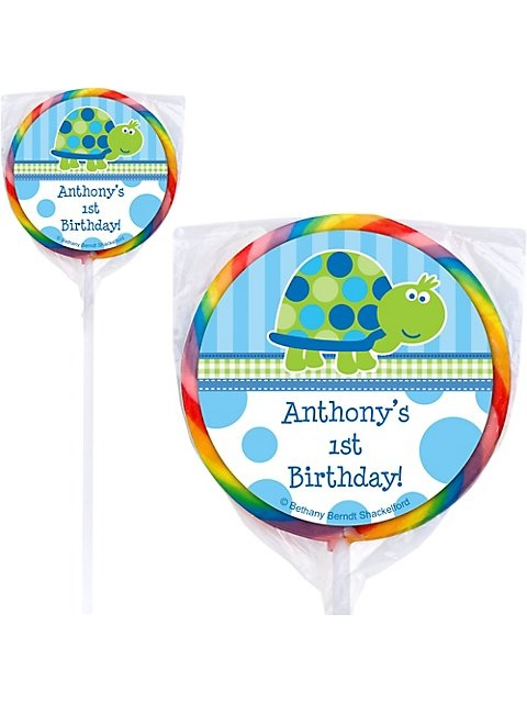 First Birthday Turtle Personalized Lollipop