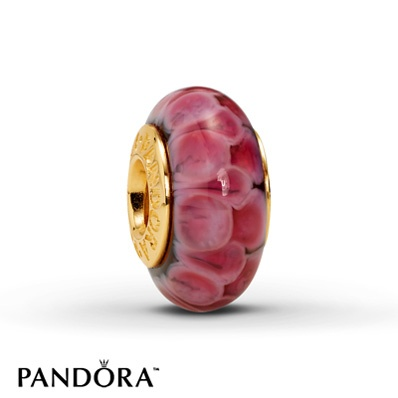 "Pandora ""Pink Lotus"" Glass Charm"