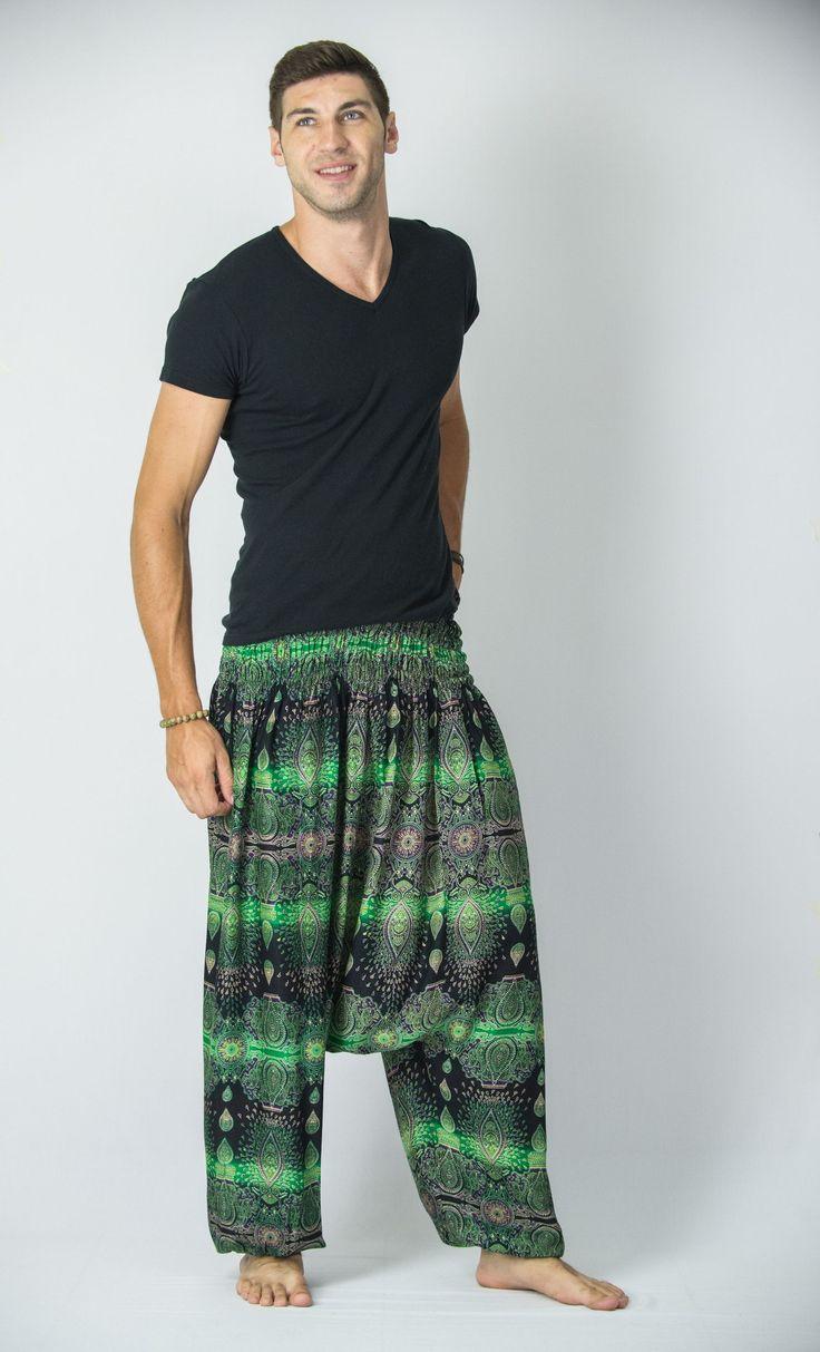 Paisley Low Cut Men's Harem Pants in Green