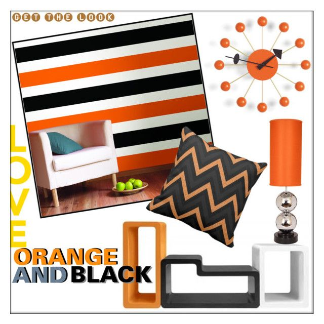 Orange & Black by whirlypath on Polyvore featuring interior, interiors, interior design, home, home decor, interior decorating, Van Teal and Vitra