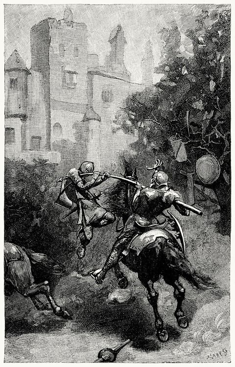 How sir Turquine bare sir Ector clean out of his saddle.  Alfred Kappes, from The boy's King Arthur, edited by Sidney Lanier, after sir Thomas Malory's history, New York, 1880.