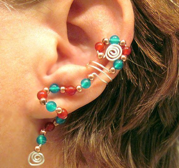 "Cartilage  Ear Cuff  ""Kachina"" Carnelian Apatite No Piercing  #jewelry #arianrhodwolfchild #piercing #cartilage #spirals #earrings #earcuff #kachina #carnelian #apatite"
