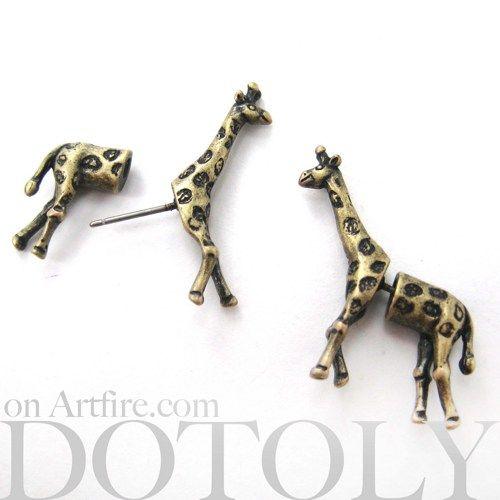 3D Fake Gauge Realistic Giraffe Animal Stud Earrings in Bronze | dotoly - Jewelry on ArtFire