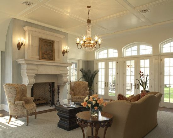 Very Nice Formal Living Room With Wing Chairs And Camel