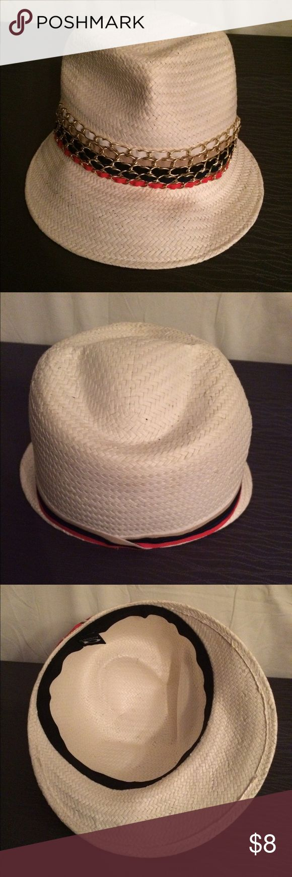 Women's Visor Hat White visor hat, with red white and blue ribbon and gold accents. 100% paper...natural is better! August Hats Other