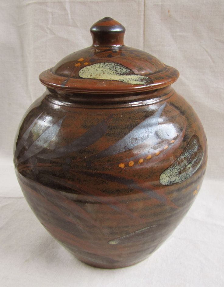 """Addlestead Storage jar. Nuka over Tenmoku with iron oxide brushwork. About 9"""" tall including lid."""