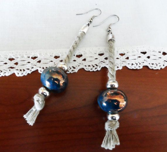 Earrings with cotton cord and ceramic beads by MCKbyMarieKC, €17.30