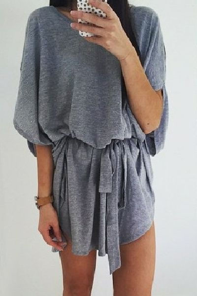 Solid Color Batwing Sleeve Loose Dress GRAY: Casual Dresses | ZAFUL