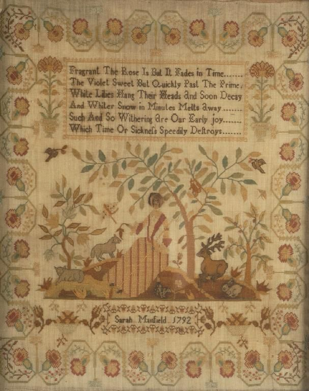 A needlework sampler Sarah Manfield, 1792