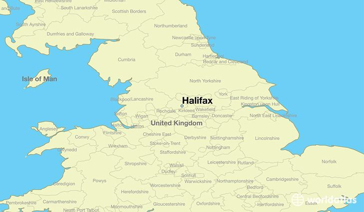 Map Of England Showing Halifax.Halifax West Yorkshire
