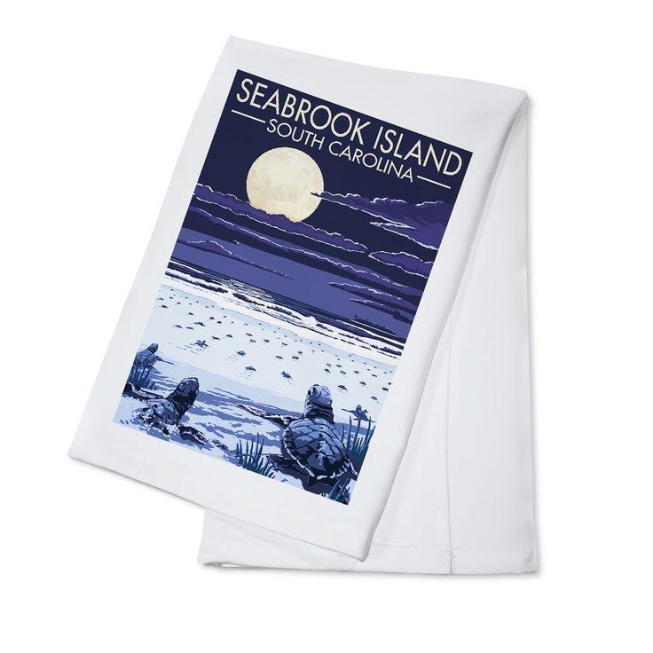 Seabrook Island (Blue) SC Sea Turtles Hatching LP Artwork (100% Cotton Towel Absorbent)