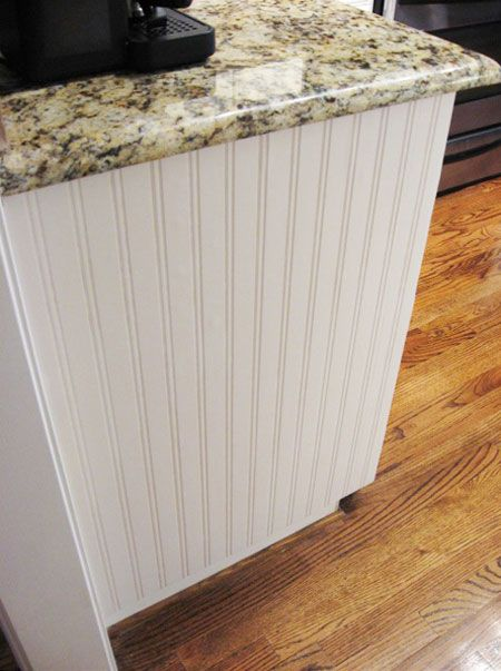 Diy decorating ideas plain cabinet ends look pretty for Add beadboard to kitchen cabinets