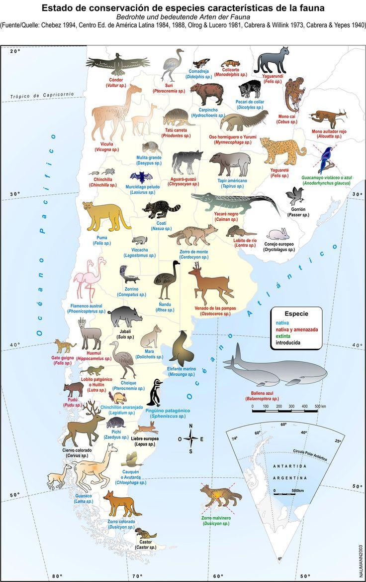 Mapa de la fauna de Argentina