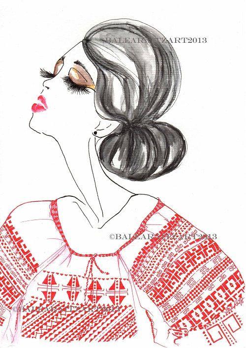 Fine Art Print Romanian Blouse IE Red by BaleaRaitzART on Etsy, $39.95
