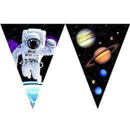 Vlaggenlijn Space Luxe -  Een prachtige exclusieve vlaggenlijn bedrukt met ruimtevaart figuren. Lengte: 3.70m.