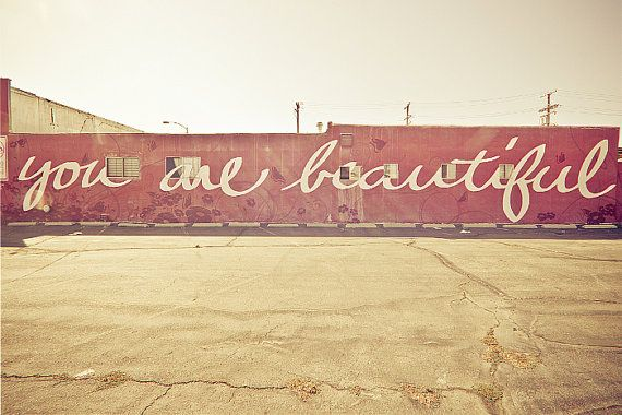 Los+Angeles+Photography+LA+Graffiti+You+are+Beautiful+by+KeriBevan,+$30.00