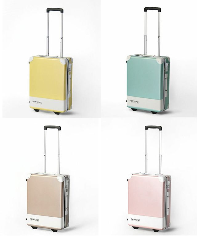 PANTONE UNIVERSE – CARRY CASE: for nano universe online shop in Japan: colorful Pantone hard-sided rolling suitcases, all based on Pantone color swatches