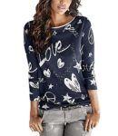 cool Yidarton Bluse Damen Langarmshit Herbst Winter Pullover Gedruckte Oberteil Hemd Herz Casual Loose T-Shirt Sweatshirt Tops (Blau, S)