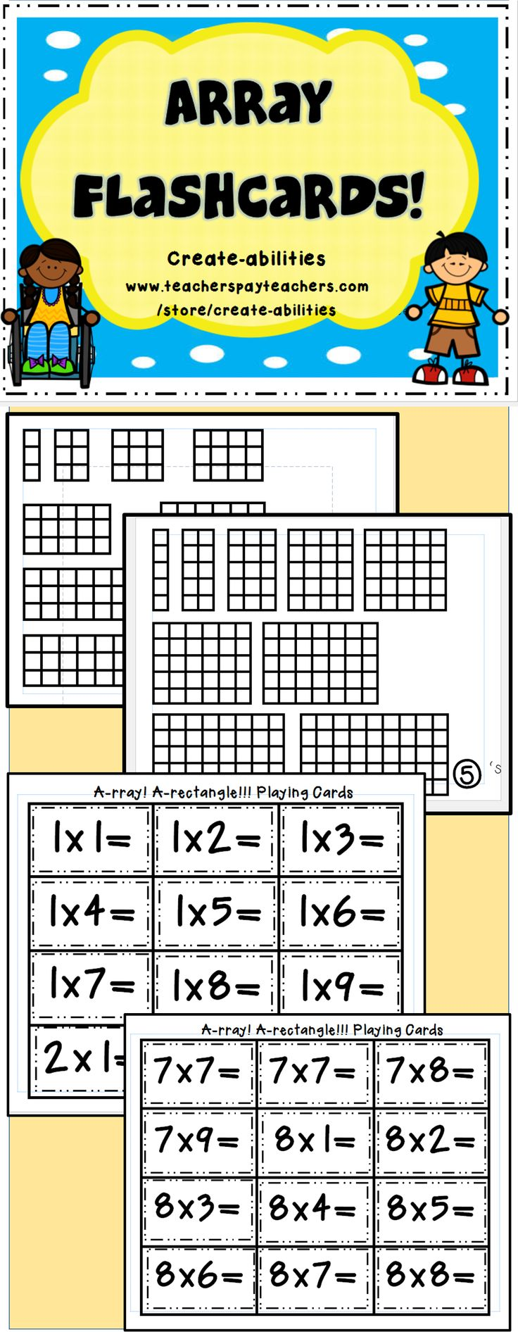 Array Flashcards: a great way to teach multiplication! Memory, War, etc.! So many different uses! #commoncore #multiplication #arrays #flashcards