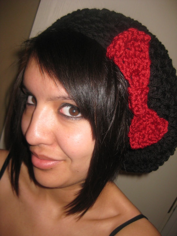 Crochet Slouch Hat with Bow by StitchedbyXtaL on Etsy, $20.00
