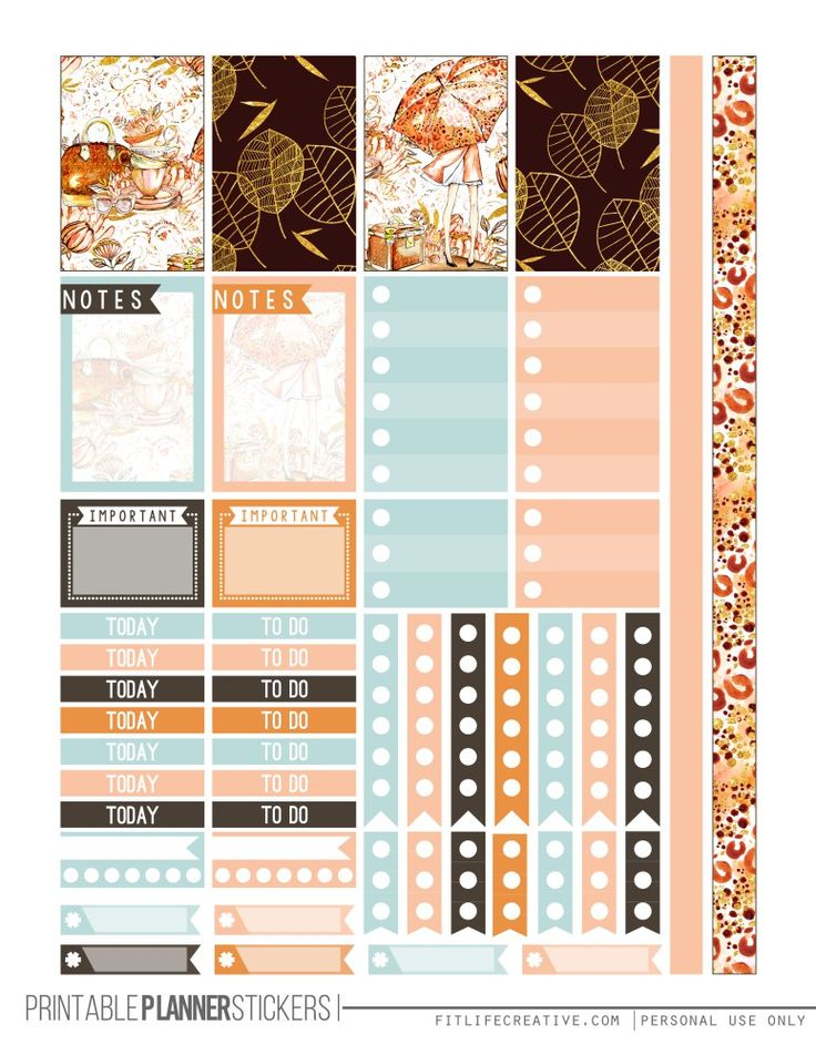 Free Fall Glam Printable Happy Planner Stickers