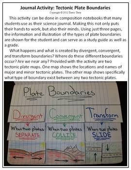 A great science journal activity that will provide some work for the students' hands and also their minds! Colorful and fun, students and use this to study the tectonic plate boundaries.