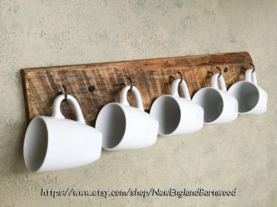 Add a welcoming touch to your kitchen by displaying your favorite mugs on this charming Rustic Wood Mug Rack. This Rustic Coffee Mug Holder